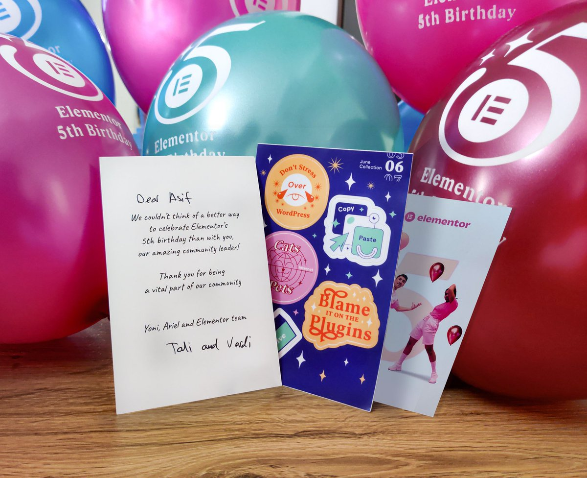 test Twitter Media - Thank you @elemntor! So kind of you, Vardi, Tali, Alon, @bpines1, Zvi, @yonilux and the entire team Elementor from @WPDevTeam! Looking forward for even stronger 5 years, so for @EssentialAddons!🚀 #Elementor #Birthday https://t.co/bm8DhqBVjG