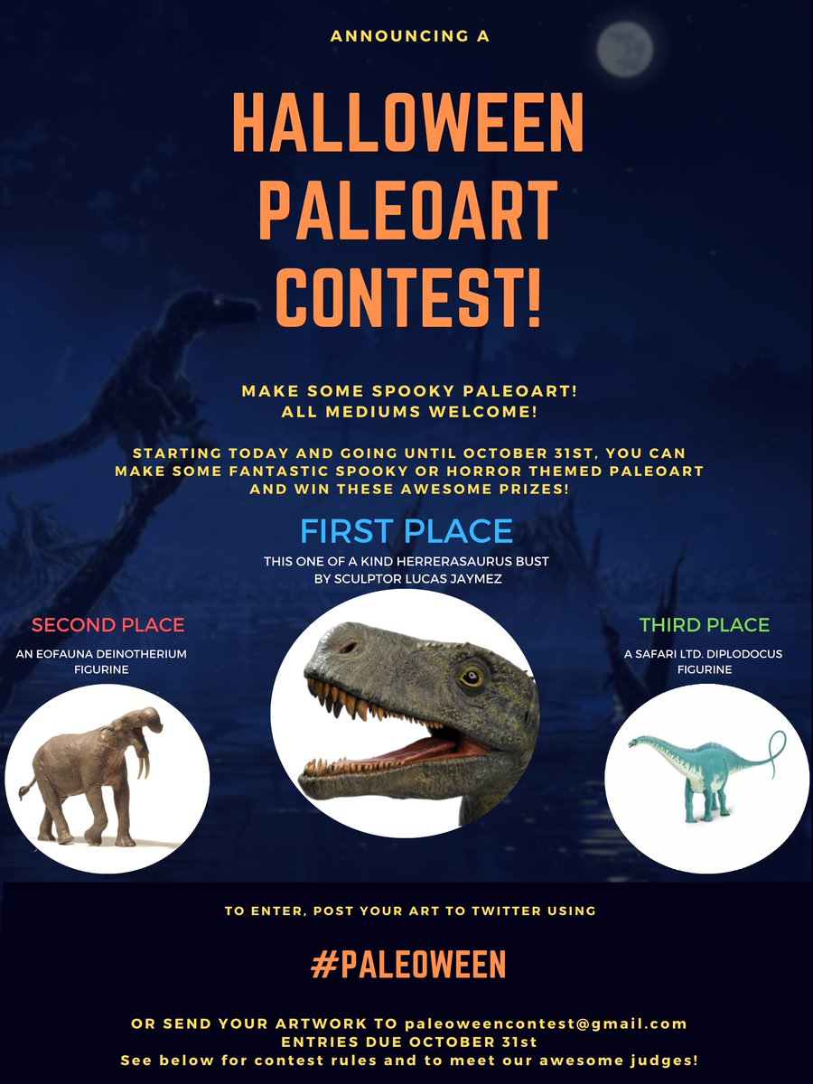 Paleoart Contest! If you are interested in making some spooky paleoart this month and winning some awesome prizes, this is for you! Submissions will be open from today until October 31st. See below for contest details, guidelines, and to meet our amazing judges! #Paleoween
