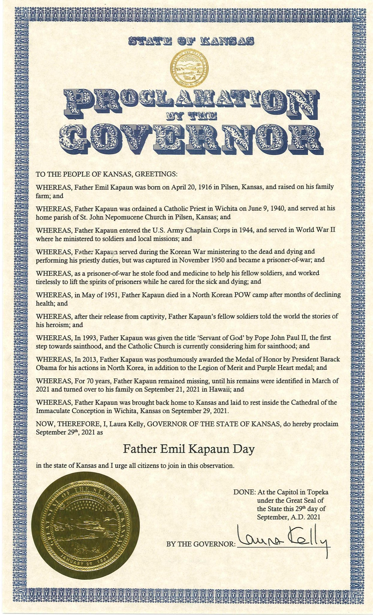 """Governor Laura Kelly в Twitter: """"Today, I proclaimed September 29, 2021 as Father  Emil Kapaun Day. Father Kapaun was known to care for all prisoners –  regardless of their background or religion,"""
