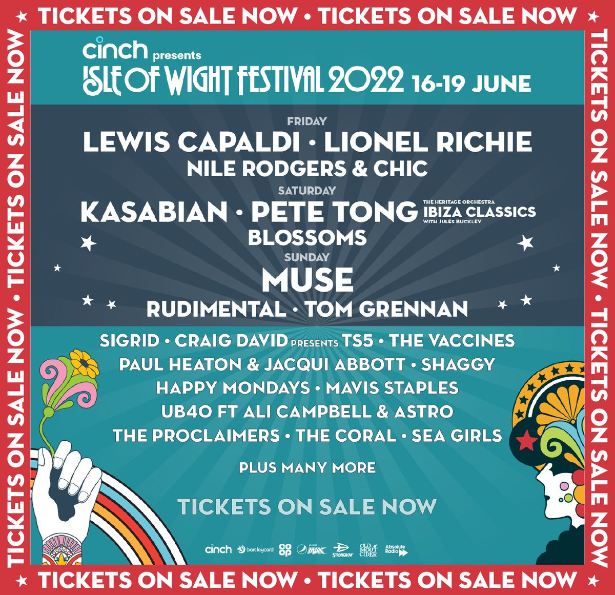 🚨Tickets for @cinchuk presents the Isle of Wight Festival 2022 are on sale NOW🚨  Purchase your tickets and find further details here: bit.ly/3upG7WR  We can't wait to welcome you all back to the Island in June for the biggest party of the summer🎪  #cinchxIOW #IOW2022