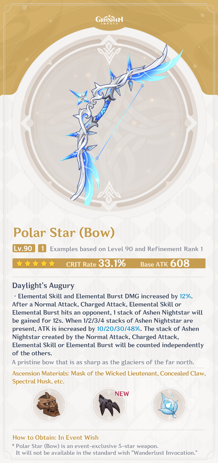 This is a graphic containing a picture of Polar Star, a bow. with a description of its stats and abilities below it, as well images of the Ascension Materials it requires.
