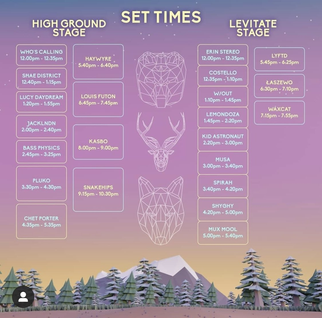 Set times @highgroundfest this Saturday! 🙌 catch us main stage at 1:20pm!