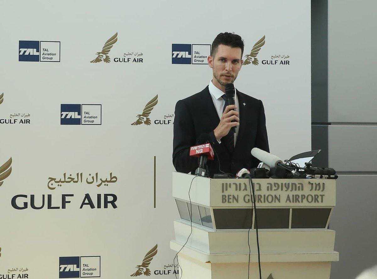 دشَّنَ نائب وزير الخارجية الإسرائيلي @idanroll خط الطيران المباشر لشركة طيران الخليج بين إسرائيل…