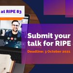 Image for the Tweet beginning: Planning to present at #RIPE83?