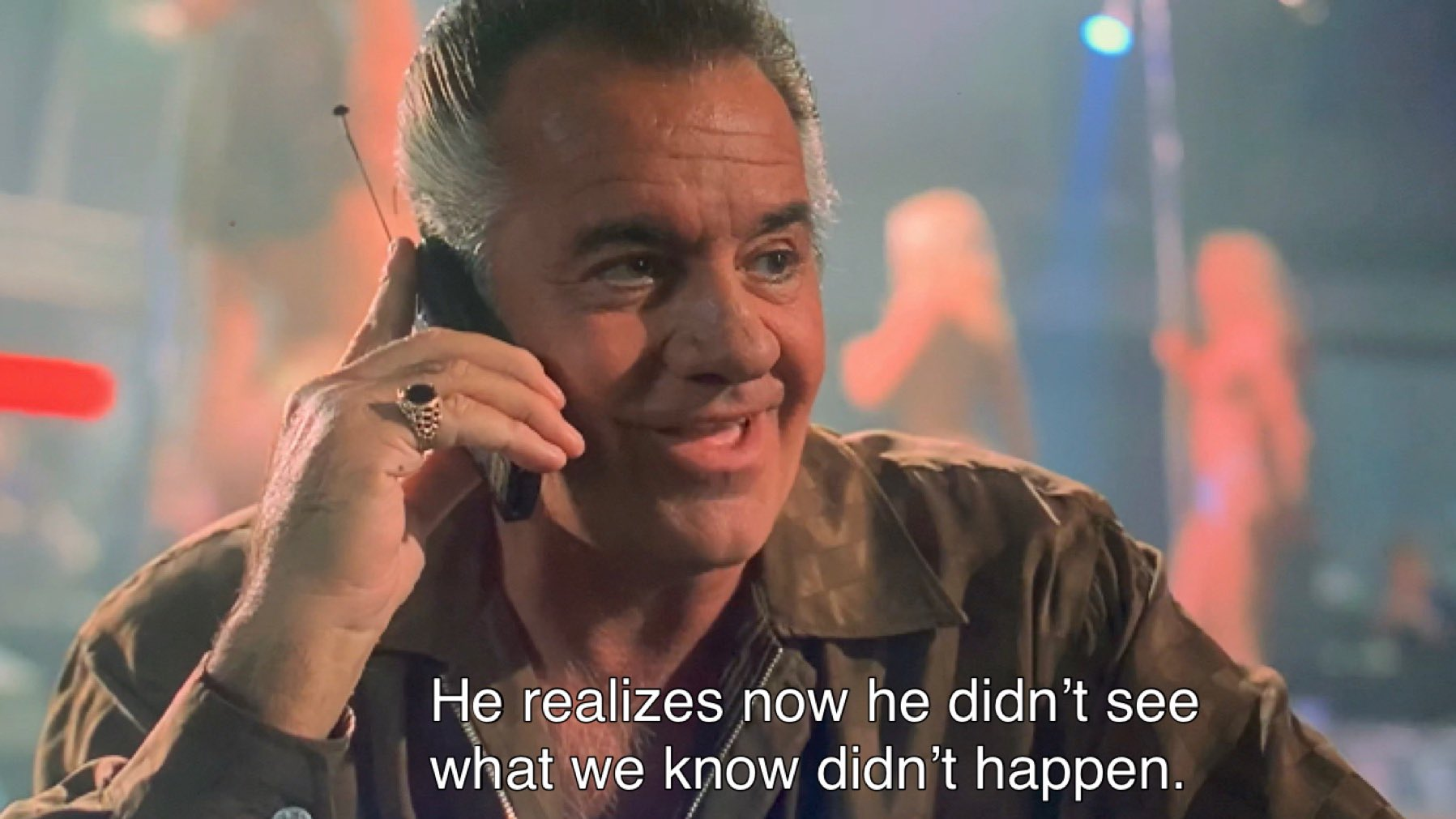 paulie walnuts telling Tony the eyeball witness changed his mind about testifying.