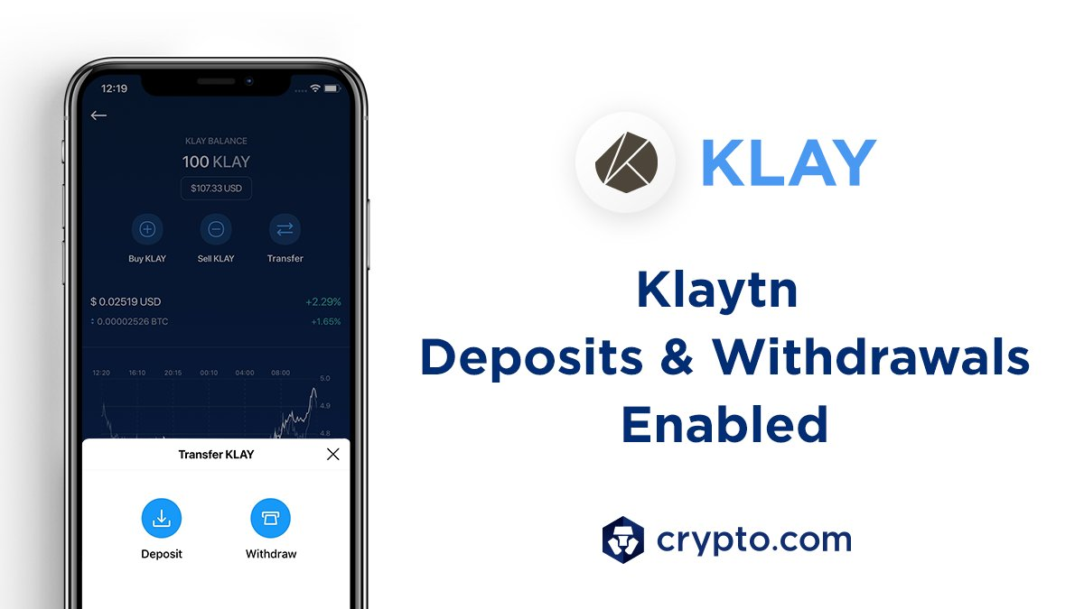 Deposits and withdrawals of $KLAY are now enabled on the Crypto.com App. Deposit now 👉 crypto.onelink.me/J9Lg/6c2d574e @klaytn_official