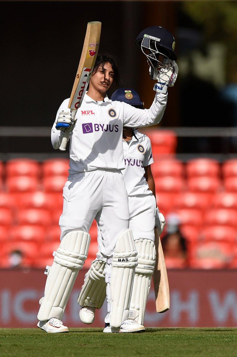 Smriti Mandhana after scoring a century on Australian soil