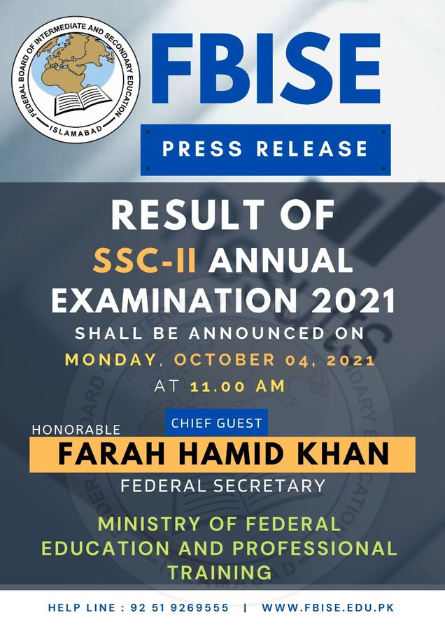 10th Class Result 2021 - FBISE SSC Part 2 Result 2021 4