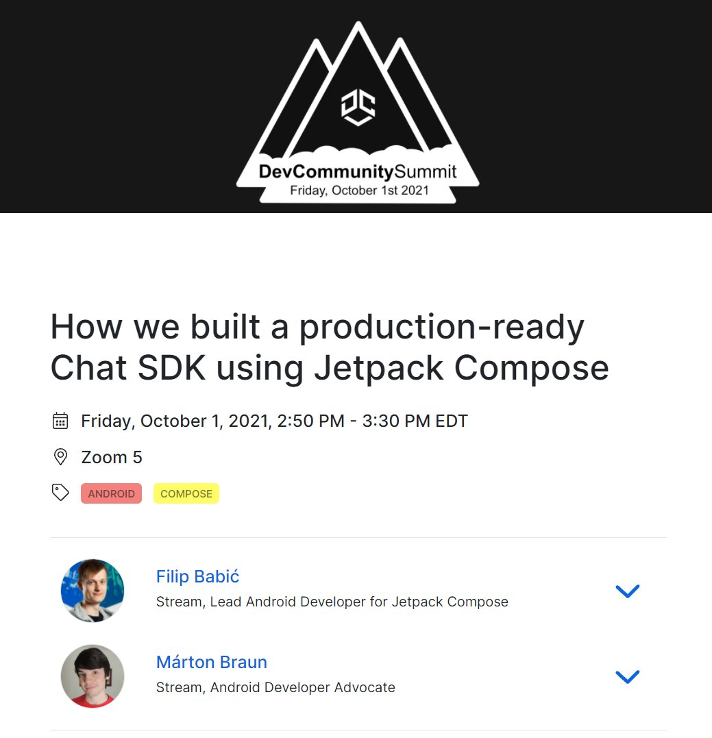 Our Compose team will be speaking at @DevCommunityOrg later today 🎉. Join @zsmb13 and @filbabic to learn how they built a production SDK using #JetpackCompose 😎 More info on the event site: devcommunitysummit.org
