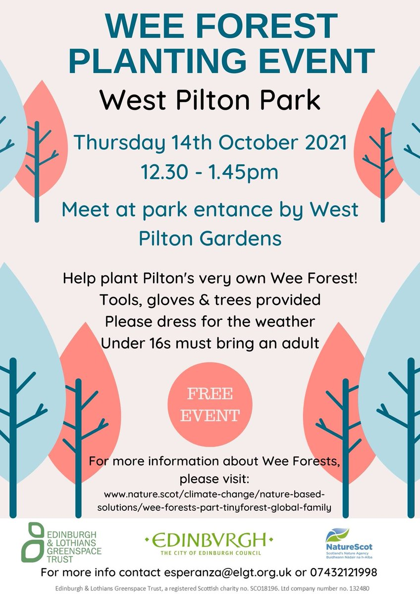 Great opportunity to help plant up some trees in West Pilton Park in Edinburgh on October 14th. @EdinOutdoors @nature_scot @wpparklife