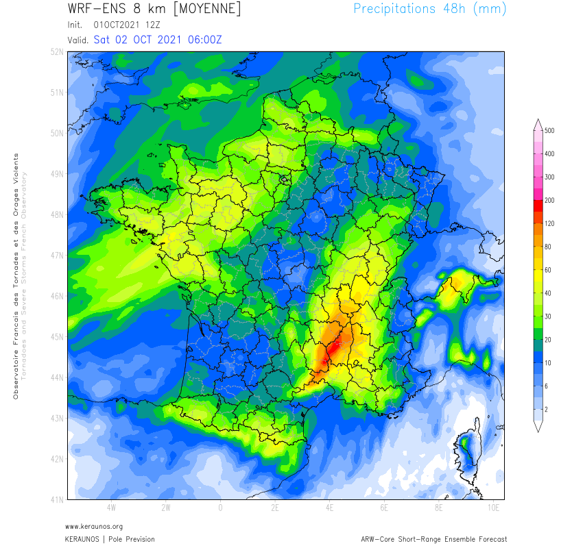 Les modèles d'ensemble (dont WRF 8 km) suggèrent deux zones très pluvieuses : l'une dès demain samedi sur les #PaysdelaLoire, jusqu'au sud Normandie, l'autre des #Cévennes à la région Lyonnaise avec des cumuls 48h notables pour la moyenne de l'ensembliste.