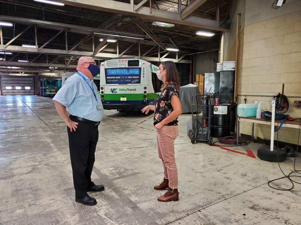 We recently enjoyed a visit with State Representative Lee Snodgrass. We had great conversations about public transportation in the Fox Cities, and she got a behind-the-scenes look at where our buses go when they're off the road.
