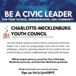 Image for the Tweet beginning: Teens: join Charlotte-Mecklenburg Youth Council,