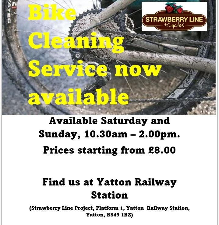 Bike need a clean/ service? Take it to @Strawbcycles at #Yatton station. To borrow a bike/ #ebike for free, visit @betterbybike today. https://t.co/8sZTmENNGL https://t.co/5uRkb3kLZC