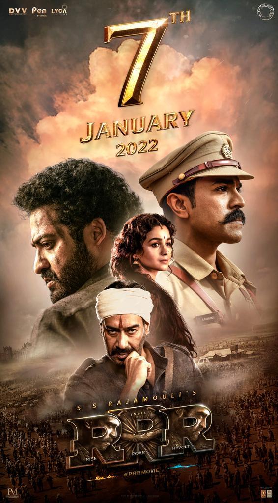 07.01.2022. See you at the Cinemas!!   Get ready to experience India's Biggest Action Drama in cinemas worldwide. #RRRMovie #RRROnJan7th   @ssrajamouli @tarak9999 @AlwaysRamCharan @ajaydevgn @oliviamorris891 @RRRMovie @DVVMovies @PenMovies