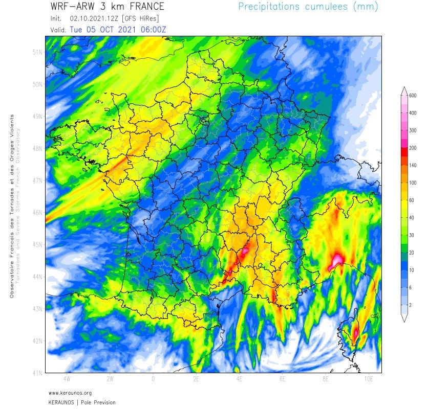 Les cumuls prévus par ARW 3km d'ici lundi soir avec des pointes à plus de 100 mm en #LoireAtlantique mais également sur le Lyonnais et plus de 200 en Cévennes.