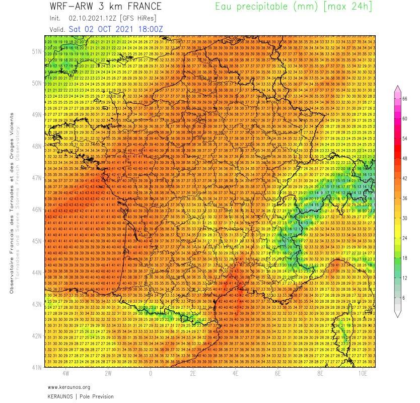 Le flux de sud-ouest advecte une masse d'air d'origine tropicale sur la France (rivière atmosphérique). En témoignent les valeurs d'eau precipitable qui atteignent des niveaux remarquables pour le nord-ouest du pays, à près de 40 mm. #pluies