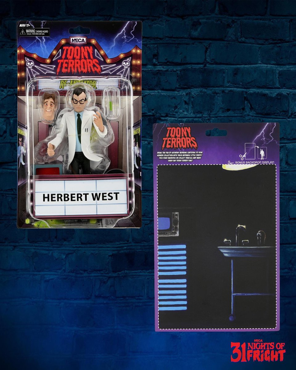 31 Nights of Fright Reveal! ➖ First look at the packaging and card art for NECA's Toony Terrors 6' Scale Herbert West (Re-Animator! Shipping this November.) ➖ #31nightsoffright #31daysofhalloween #halloween #horror #neca #actionfigures #reanimator #toonyterrors