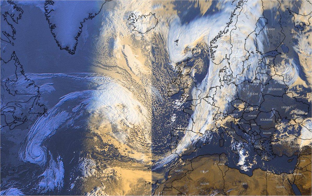 Spectaculaire front froid qui s'étire de la Scandinavie au sud de l'#Espagne et donne des pluies soutenues. Image satellite Windy
