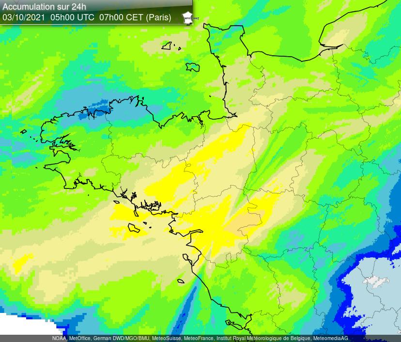 Cumuls exceptionnels sur la #LoireAtlantique avec 101 mm en 24h à #Nantes et localement des pointes à près de 110 mm dans la région. A noter également 97 mm à Pellerin, dans le Maine-et-Loire 87 mm à Angrie. Carte lame d'eau radar @infoclimat