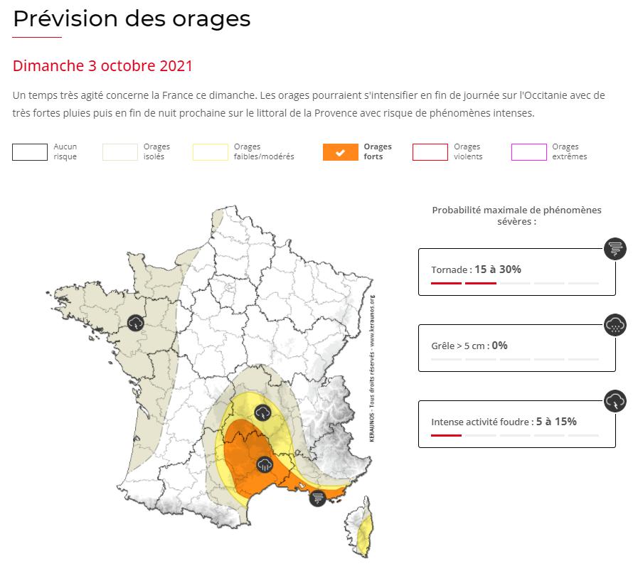 Des #orages parfois forts seront possibles en fin de journée sur #Occitanie au sein d'un front froid actif puis en deuxième partie ou fin de nuit prochaine sur l'ouest de la Provence avec possibilité de fortes pluies et risque non négligeable de #tornade.