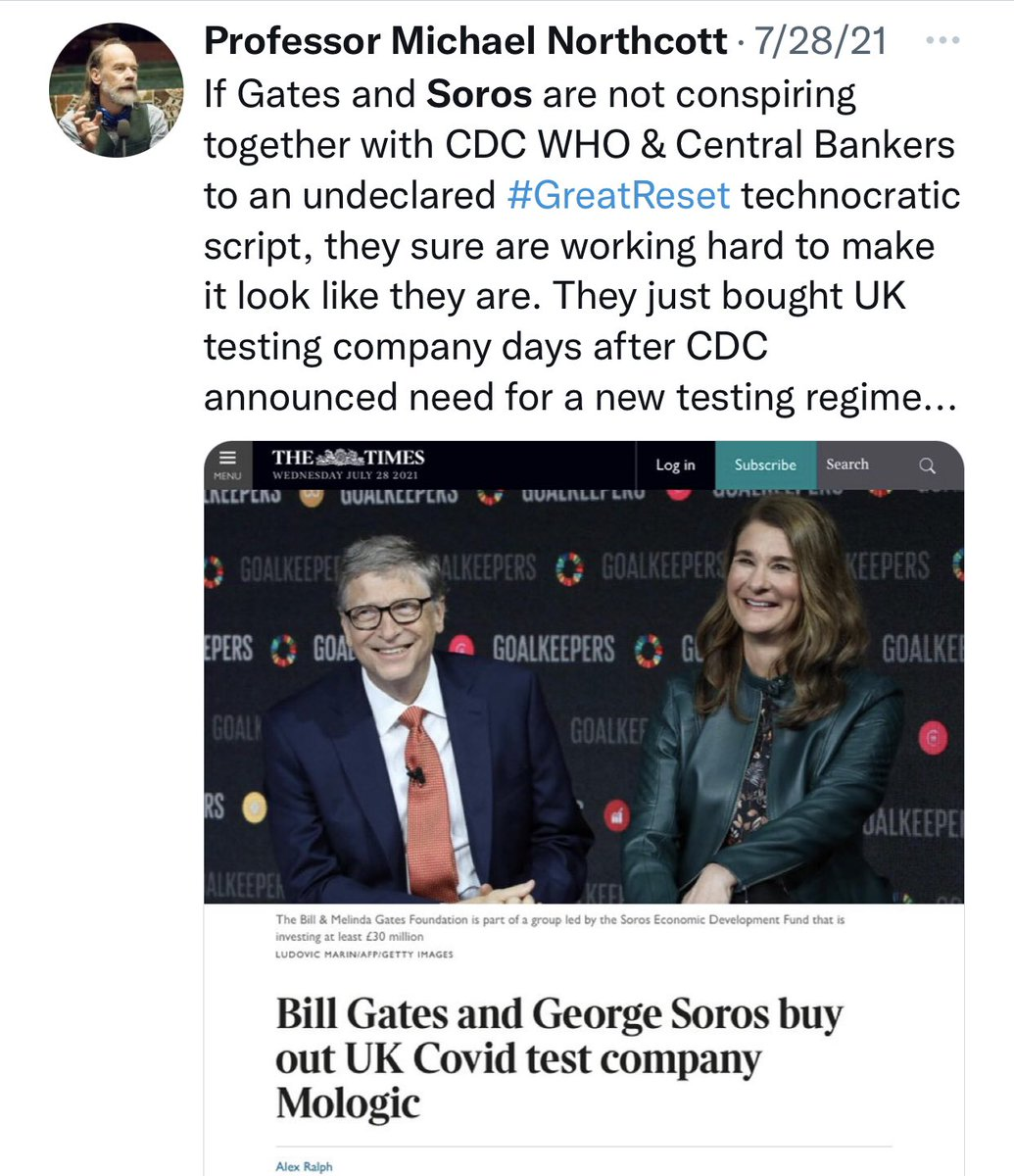 """The individual in this screenshot also believes that George Soros and """"central bankers"""" are working on this secret agenda and using COVID-19 as part of it. Cc: @GCAntiVaxxers"""