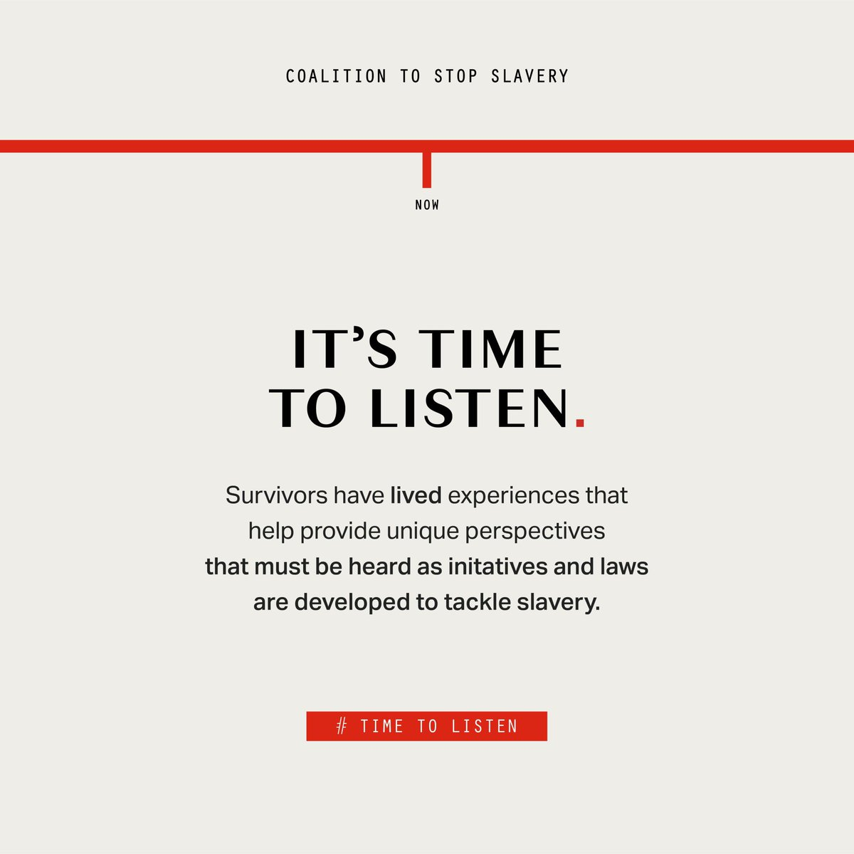 This campaign carries such an important message. Could not agree more with #coalitiontoendslavery that we cannot stop modern slavery or any other form of exploitation without listening to the experiences of survivors #AntiSlaveryDay2021 #TimetoListen