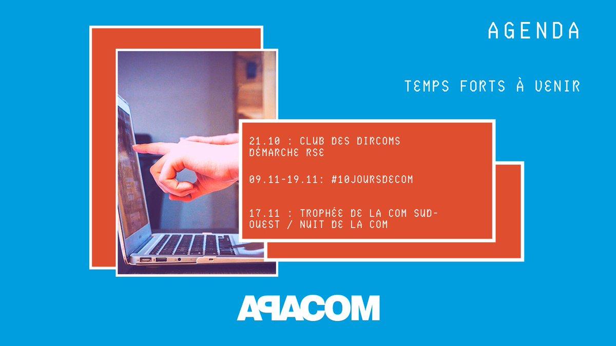 📌À vos agendas #TempsForts 👉 Ce jeudi 21/10 : Club des DirComs spécial démarche #RSE, avec des retex & bonnes pratiques 🌿 👉 À partir du 09/11 : #10joursdeCom (+ d'infos très prochainement !) 👉 17/11 au Rocher de Palmer : Les @TropheesCom & La Nuit de la Com' 🏆