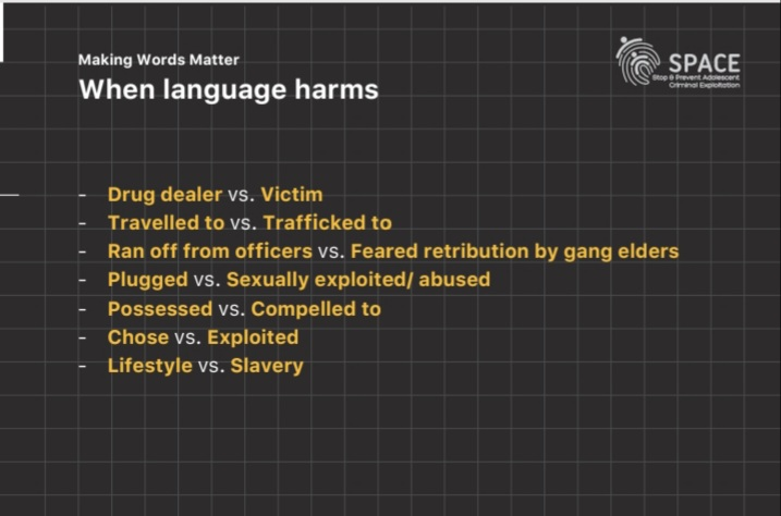 📢 #AntiSlaveryDay2021 #LanguageMatters ❌It negatively influences victim outcomes ❌The public see it in (social) media ❌Juries are made up of public. #StopCCE #NoExitsOutofCL