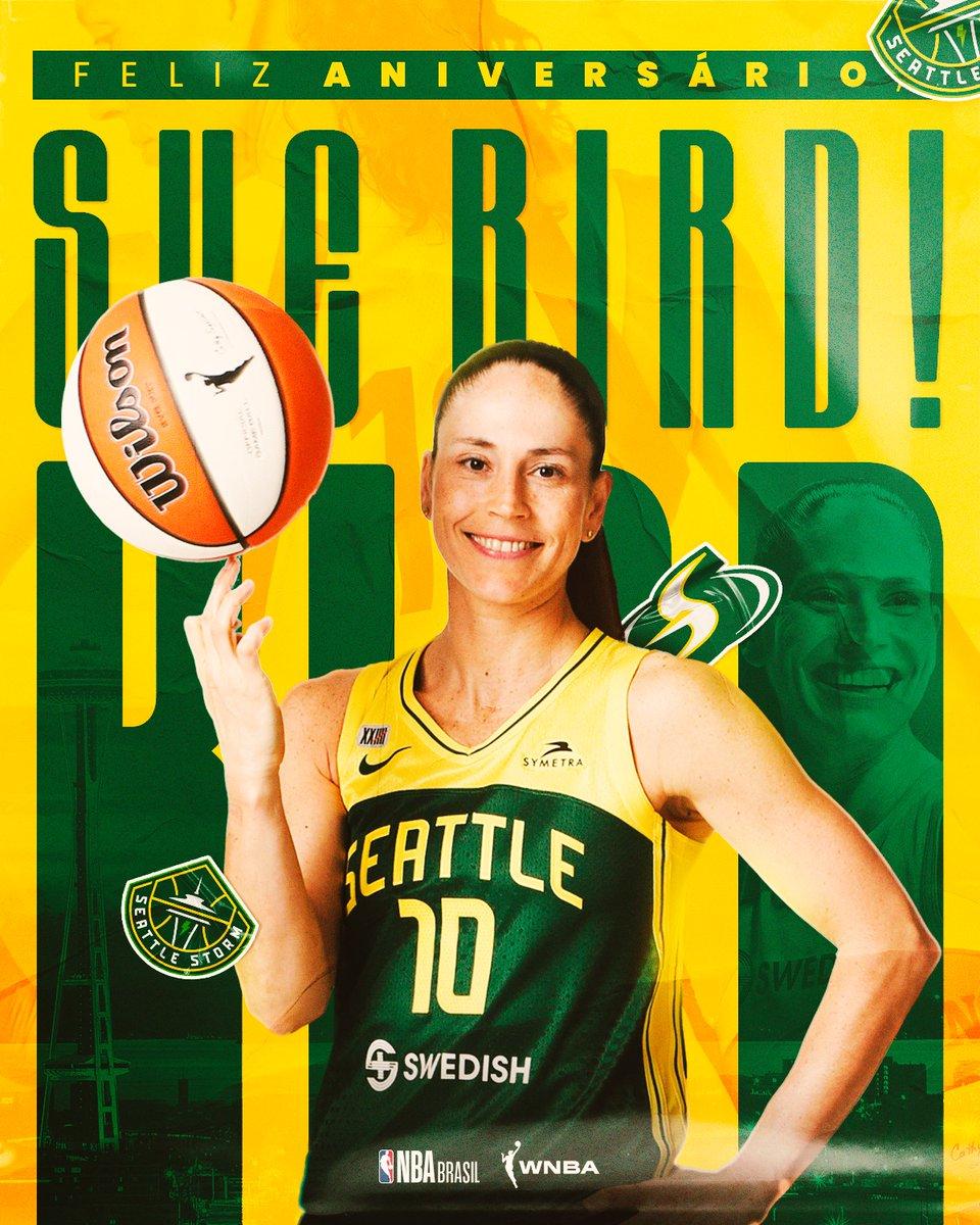 Feliz aniversário, @S10Bird! 👏  Lenda da WNBA completa 41 anos neste sábado! Deixe seu parabéns para a armadora 🥳  #NBABDay