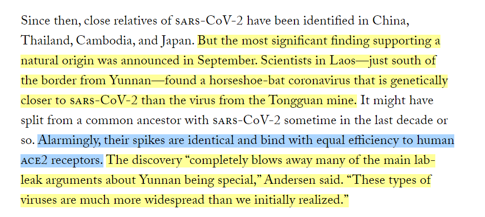 """Here's the @newyorker on the significance of the @newyorker's false statement about the spike proteins being """"identical"""" when in fact the spike of the coronavirus found in Laos lacked a furin cleavage site:"""