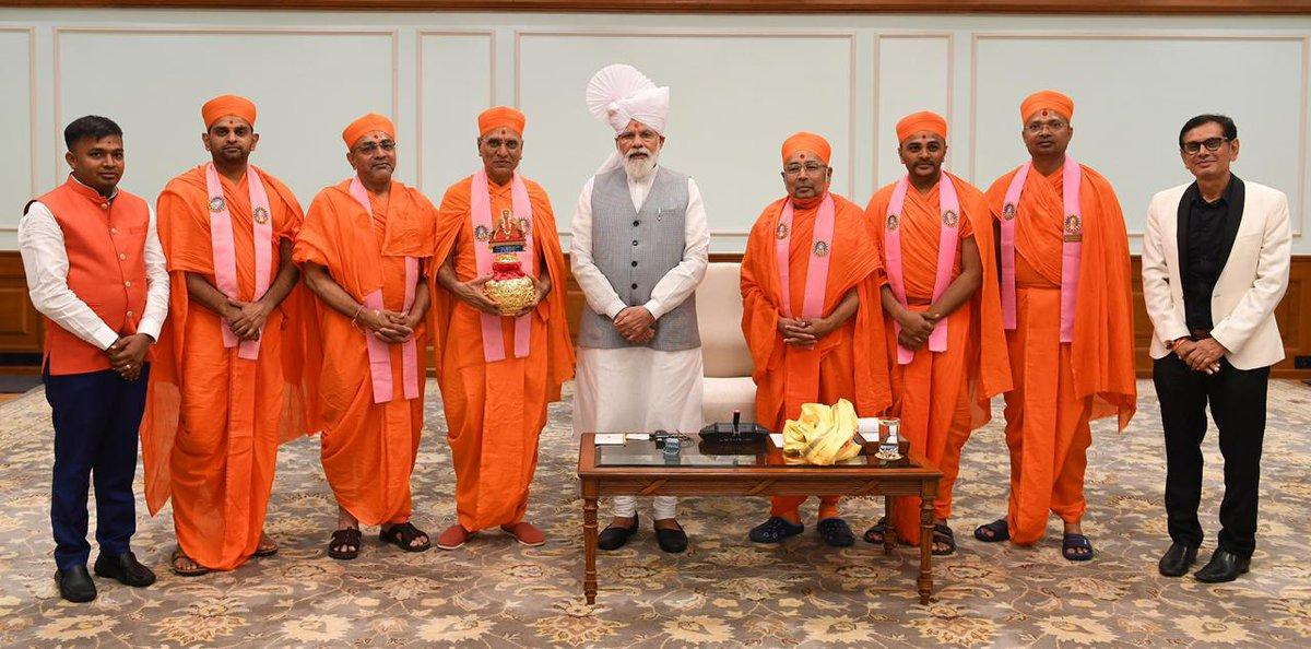 In pictures: Maninagar Gadi Swaminarayan Mandir Acharya calls on PM Narendrabhai Modi