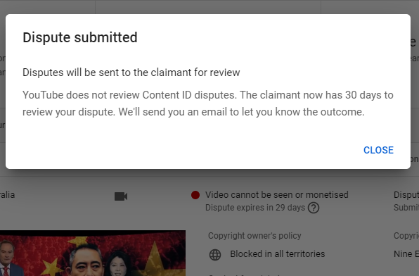 So YouTube algorithm flagged my Reaction Video to @60Mins' ridiculous sob story on poor Chinese billionaire under corruption investigation. And 60 Minutes blocked my video.  Tried to appeal but YouTube won't even review the dispute and it goes back to 60 Minutes to decide. BS!