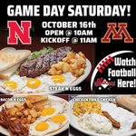 It's Game Day, baby! All DJ's locations open at 10am today for the 11am Nebraska vs Minnesota game! Stop in for breakfast & get ready to cheer on the Huskers! #GBR
