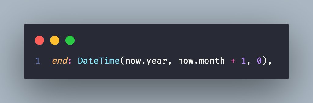 So I've just found out (stackoverflow.com/a/14815209/133…) that you can get the last day of a month (in my example it's the current month)  in dart by doing this:  #flutter #dartlang