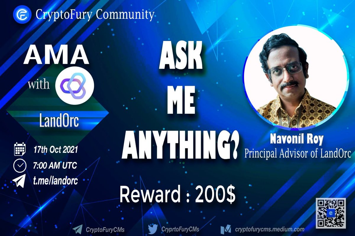 Join our AMA session with one of the largest Vietnam Community @CryprtoFuryCMs tomorrow Oct17th at 7.00 AM UTC!  We will reveal some exciting stuffs here..Don't miss it! #NFT #DeFi #Bitcoin #LandOrc #realty #dapps #Ethereum #landtitle #realestate