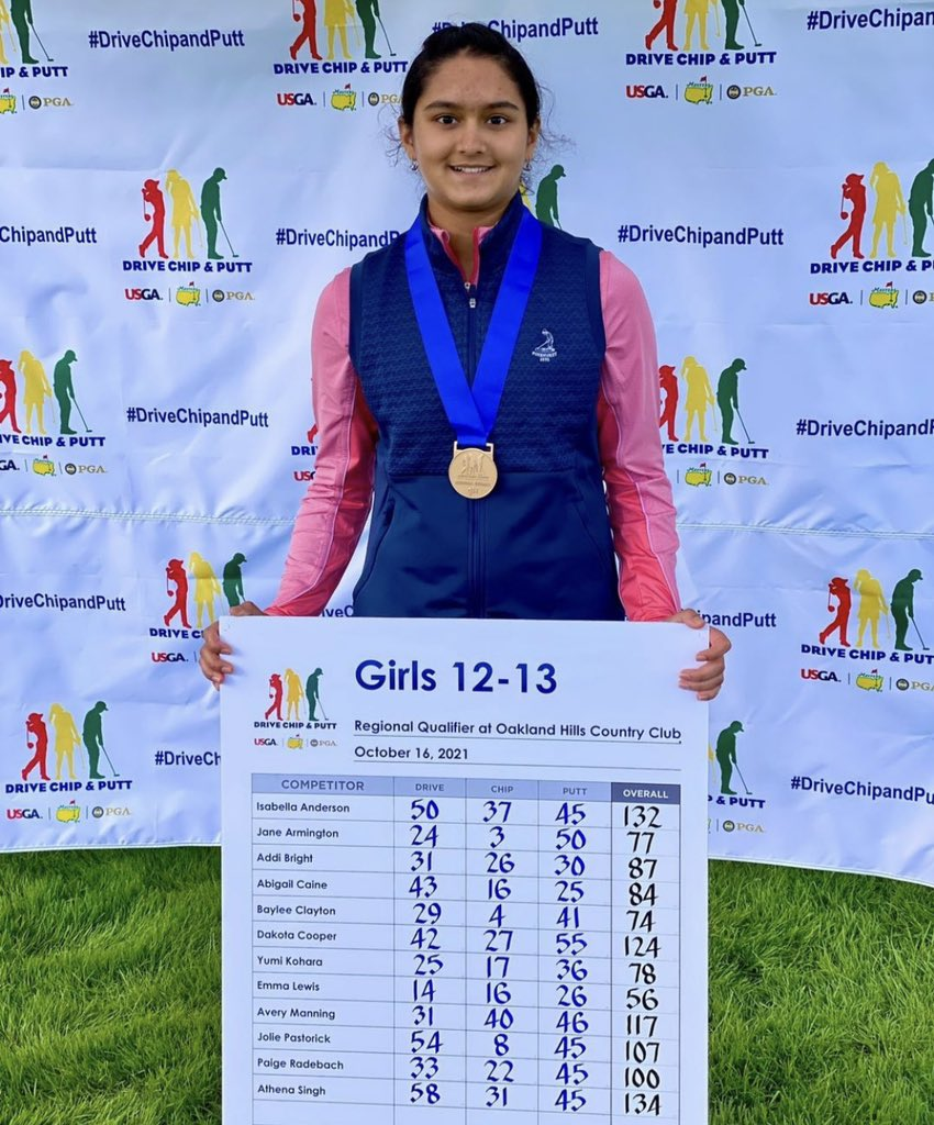 Athena Singh is returning to Augusta National for the @DriveChipPutt National Finals!! Congratulations, Athena!!