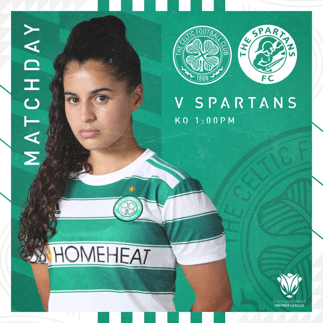 🟢MATCHDAY⚪️ We're Glasgow Celtic✊ 🆚 Spartans 🏆 @SWPL 1 🏟️ Penny Cars Stadium 🕐 1pm 📺 @BBCSportScot website 🎟️ embed.futureticketing.ie/c/airdrieonians #SWPL1 | #CELSPA | #COYGIG