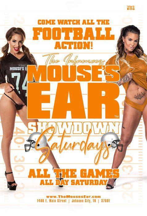 Every Saturday-ALL THE GAMES! ALL DAY! 5 SCREENS! . . . #Football #Fun #SaturdayFootball #CollegeGames #Pigskin #ShowdownSaturdays #sexy #Fun #ThingsToDo #SaturdayShenanigans #SportsBar #StripClub #MousesEar #JohnsonCity