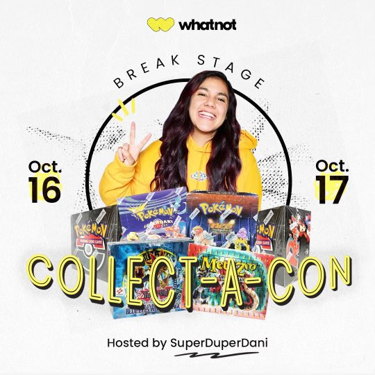 The box breaks continue! We're at Collect-a-Con all weekend - stop by the @Whatnot Break Stage to see our 1ST EDITION Neo Revelation booster box opening! It will also be streamed live on the Whatnot app at 4:30 CST🎉