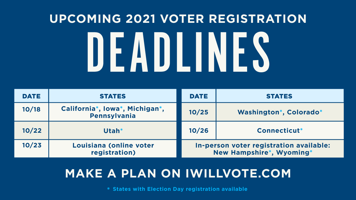The voter registration deadline is coming up in several states. Make sure you're registered to vote at IWillVote.com and vote for Democrats up and down the ballot to keep America moving forward.