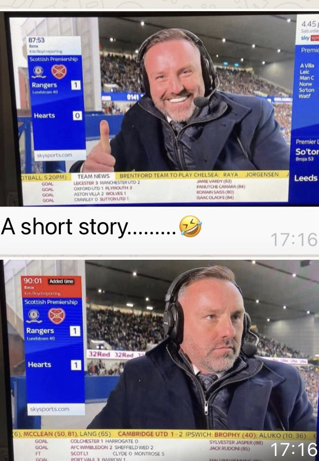 Aye, a VERY short story! (Sorry, Rangers fans, but Kris Boyd really is a prick).