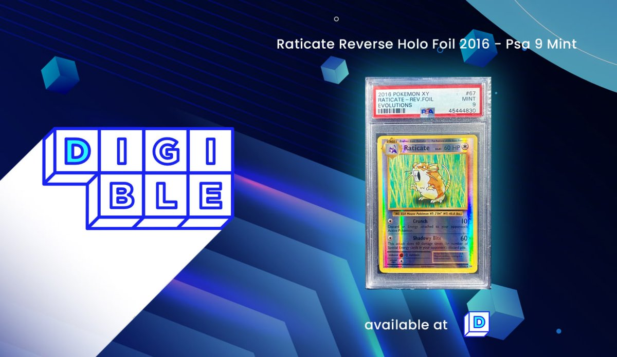 Don't miss your chance to become an owner of the first Pokemon Raticate physically-backed NFT ❗️Auction ends in less than 24 hrs ❗️ ✅Current bid ($20) Place your bid here➡️ digible.io/details/36