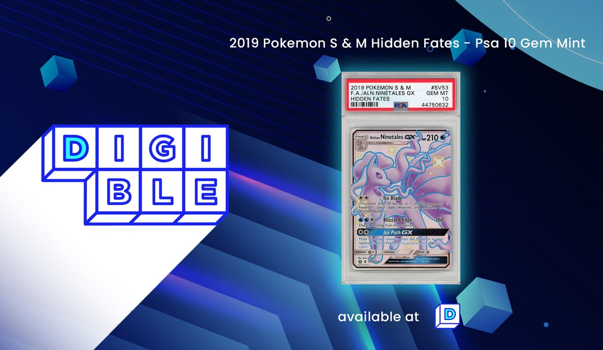 First Premium physically-backed NFT Pokemon Ninetales PSA 10 Gem Mint is on auction!!!🎉 Check this out ➡️ digible.io/details/75 1⃣Auction ends on the 19th of October 2⃣Card value is about $150 3⃣Listed at $50 Don't miss your chance🚀🚀🚀