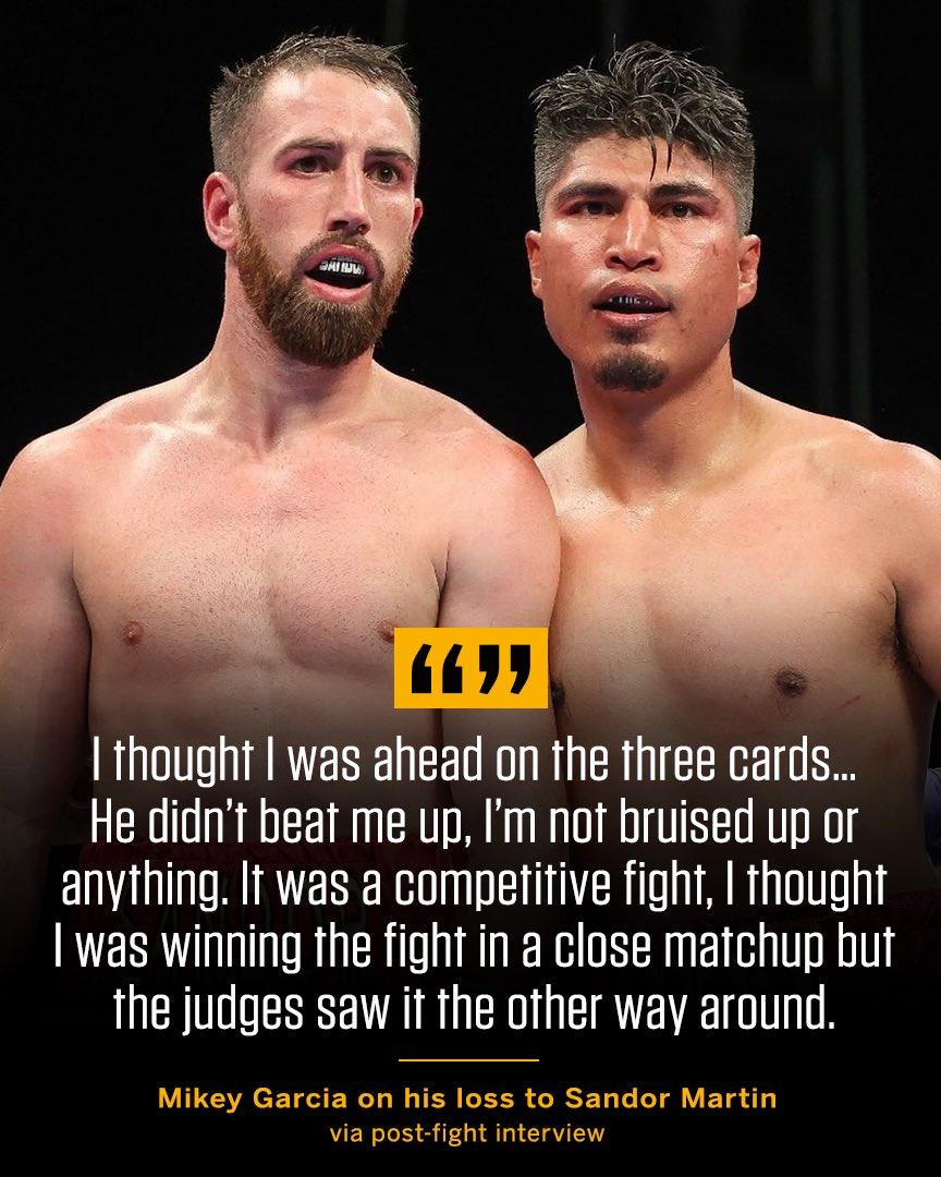 Mikey Garcia felt he did enough to win on Sat. night — do you agree? #GarciaMartin