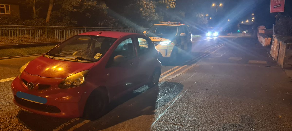 Derby. Stopped by @DerbysDogPolice due to some bad driving. Driver over twice the legal drink drive limit and hasn't even got a licence yet. Arrested and car to the impound. #Fatal4 #Seized