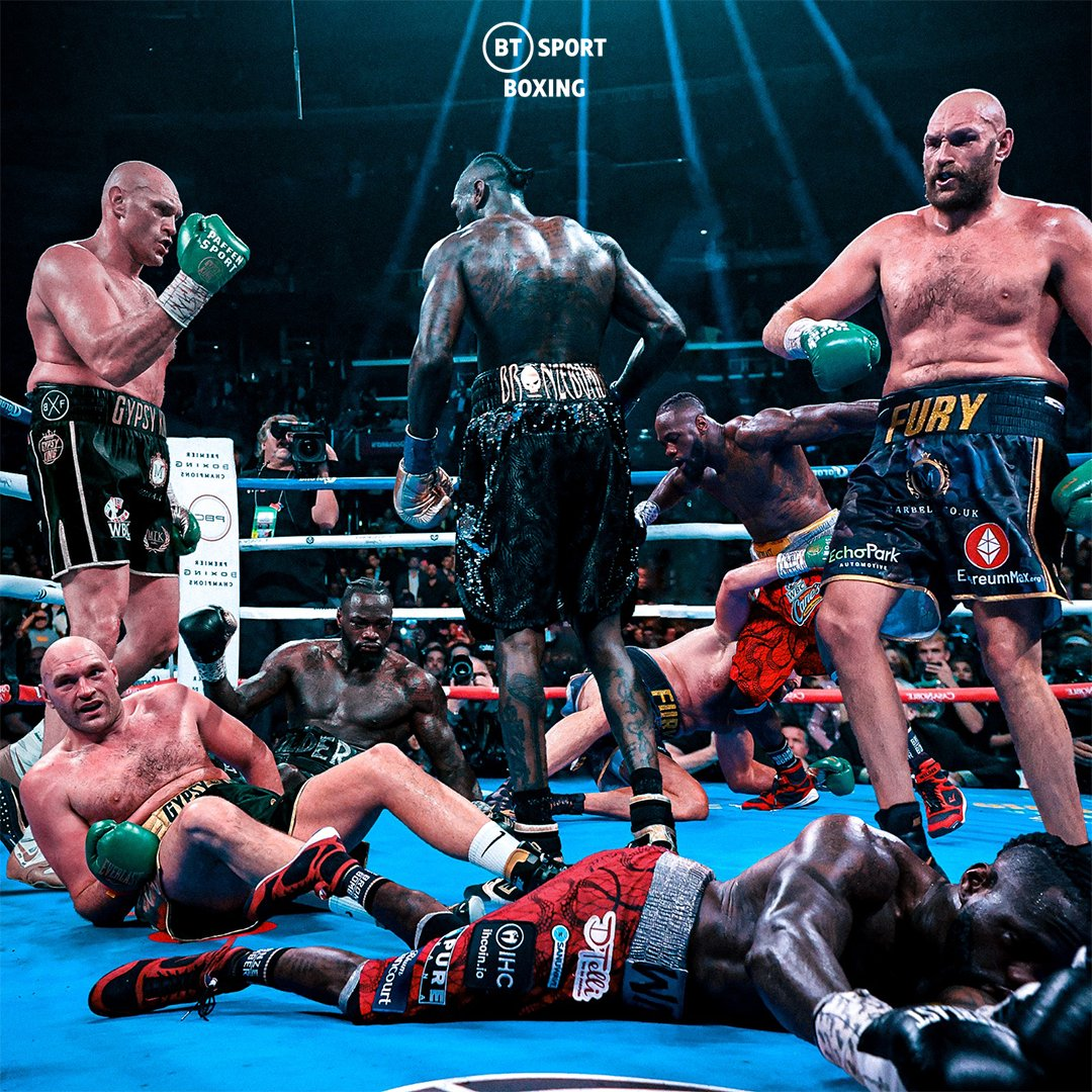 9️⃣ Knockdowns across three crazy fights. @Tyson_Fury and @BronzeBomber both hit the canvas in an epic rollercoaster trilogy!
