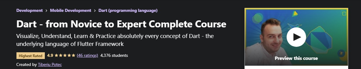 Just started 'Dart - from Novice to Expert Complete Course' by @letsgetwckd on @udemy  Great use of text, speech and graphics. Propably the best video intro i have seen for a programming language #dart #dartlang #flutter #dartprogramming