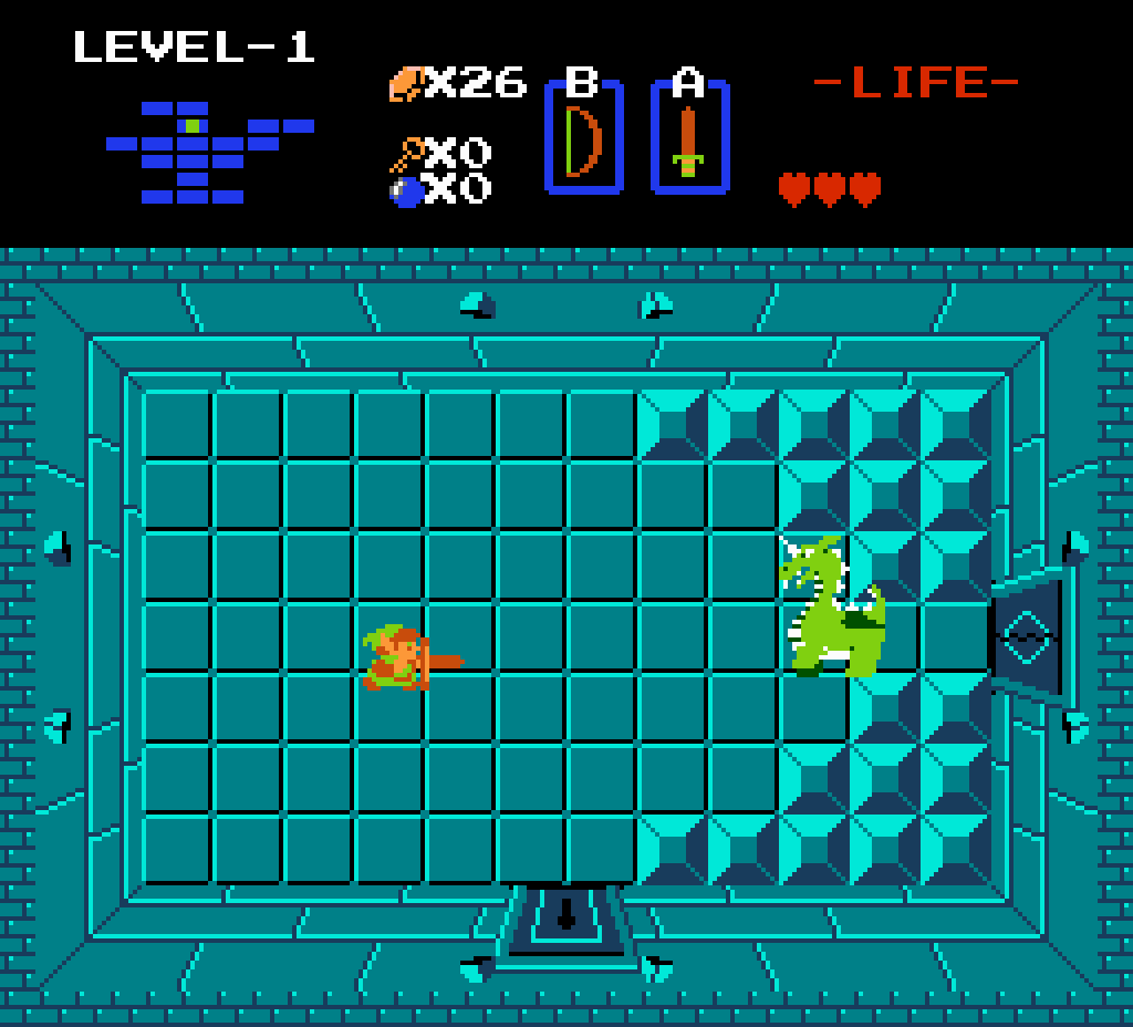 The original screenshot from the first The Legend of Zelda game, depicting Link in his battle against Aquamentus,at the end of Level 1.