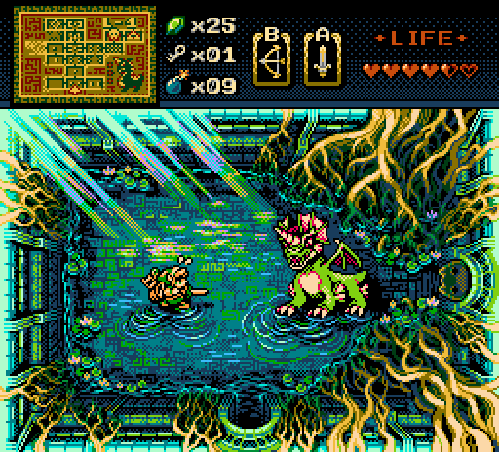 Link faces its first boss ever, Aquamentus, a fire-breathing unicorn-dragon, in his quest to retrieve the first triforce shard. The relic is hidden in the very next and final room of Level 1, but the opponent is though. The battle is fought in a verdant underground pool, filled with overgrown roots coming down from the walls and lilypads, floating in the shallow water. An opening on the ceiling lets some light in. As Aquamentus readies for a ferocious attack, Link is thinking a counter-move, struggling under the weight of his vast inventory.